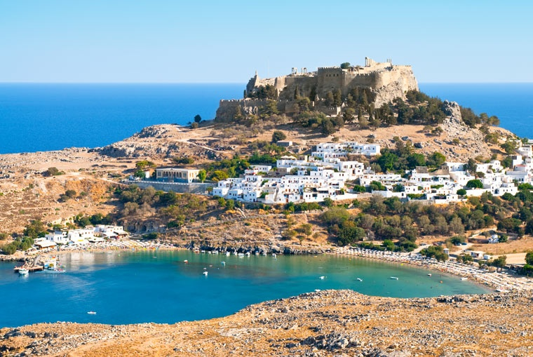 Akropol w starożytnym mieście greckim Lindos - Rodos - Grecja