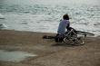 Rowerzysta nad morzem