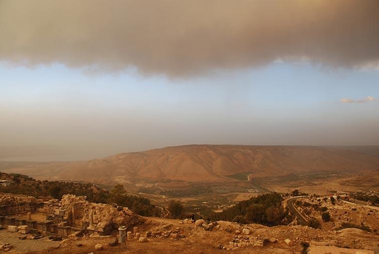 Jordania, Izrael, Jezioro Tyberiadzkie, Wzgórza Golan i Syria na tym samym zdjęciu