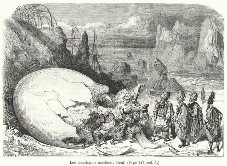 Ilustracja do 5 podróży Sindbada żeglarza (1865 rok)