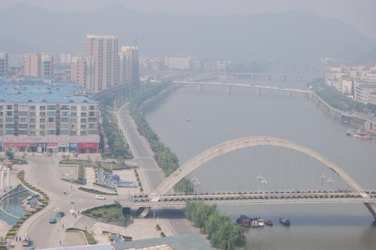 Panorama z nowego hotelu Yintian Hotel - Liuyang - Chiny