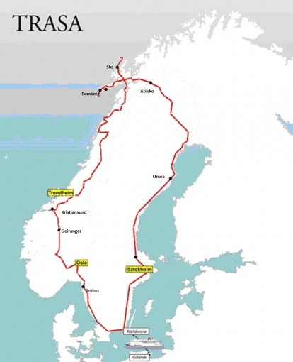 Mapa trasy - Norwegia – relacje z podróży